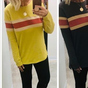 BRAND NEW mustard color long sleeve with stripe